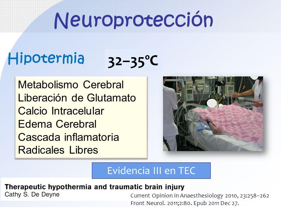 Neuroprotección 32–35ºC Hipotermia