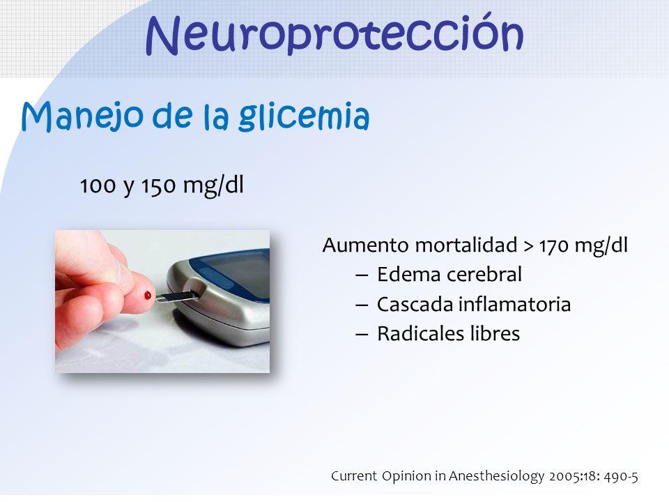 Neuroprotección Manejo de la glicemia 100 y 150 mg/dl