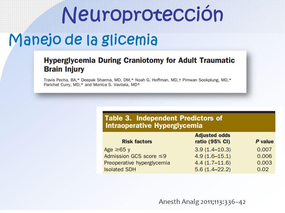 Neuroprotección Manejo de la glicemia Anesth Analg 2011;113:336–42