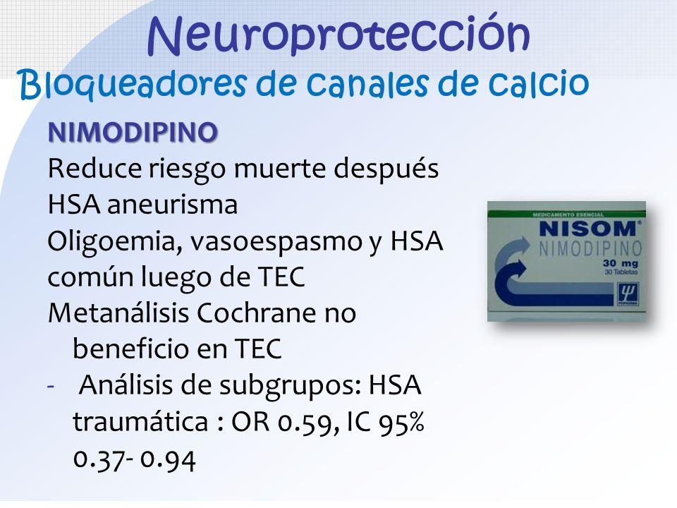 Neuroprotección Bloqueadores de canales de calcio NIMODIPINO
