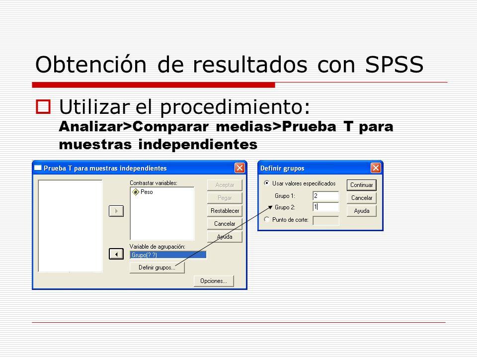 Obtención de resultados con SPSS