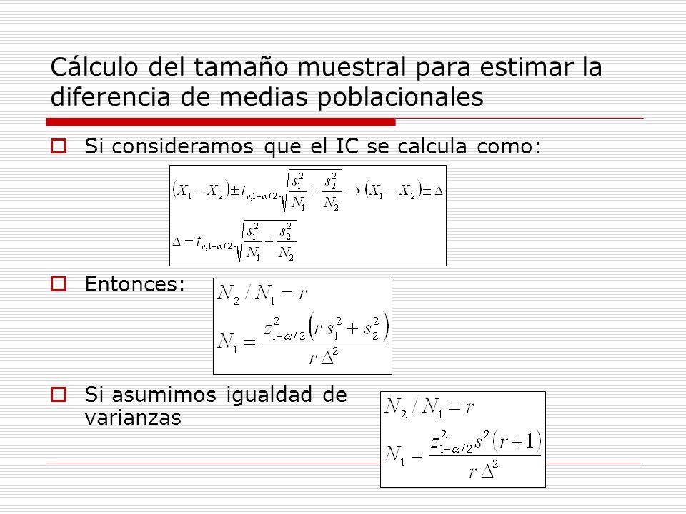 Cálculo del tamaño muestral para estimar la diferencia de medias poblacionales