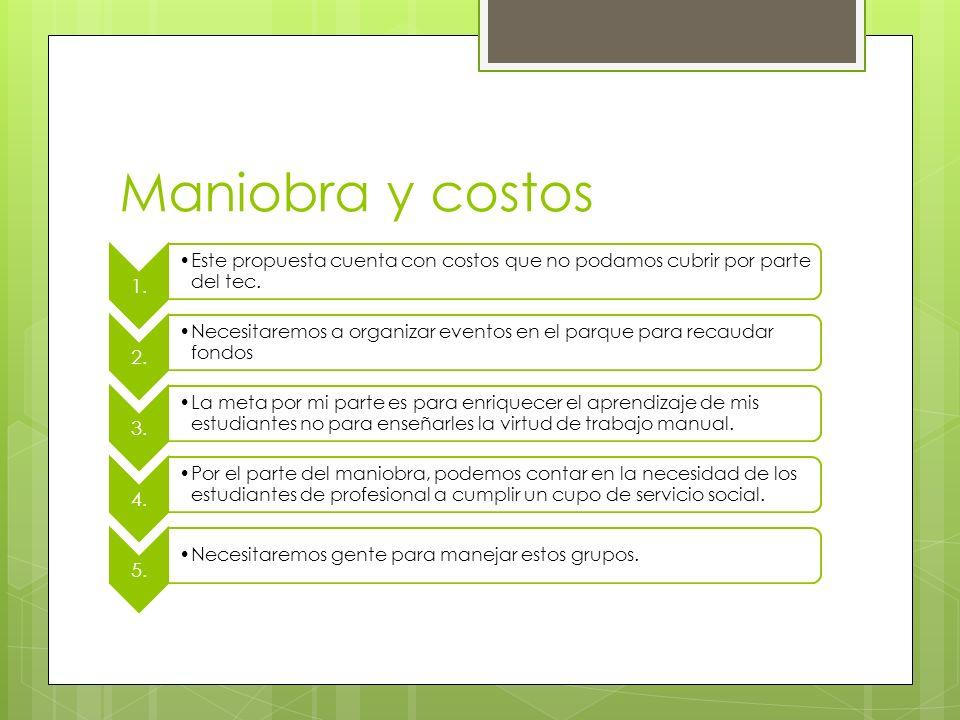 Maniobra y costos 1. Este propuesta cuenta con costos que no podamos cubrir por parte del tec. 2.