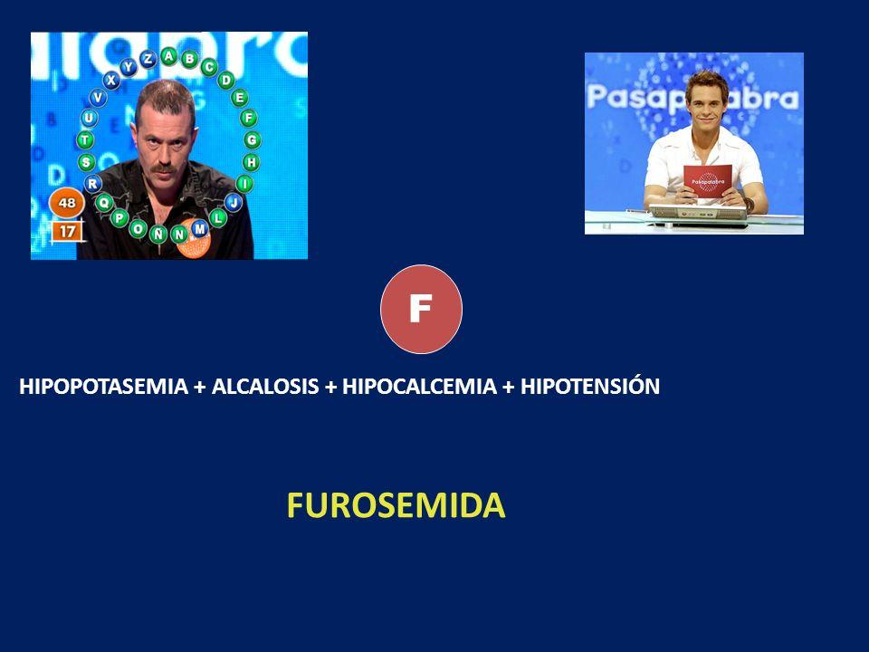 F HIPOPOTASEMIA + ALCALOSIS + HIPOCALCEMIA + HIPOTENSIÓN FUROSEMIDA