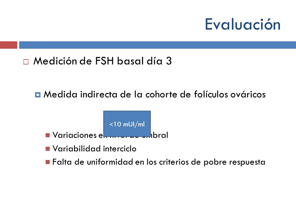 Evaluación Medición de FSH basal día 3