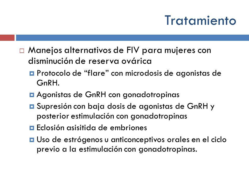 Tratamiento Manejos alternativos de FIV para mujeres con disminución de reserva ovárica. Protocolo de flare con microdosis de agonistas de GnRH.