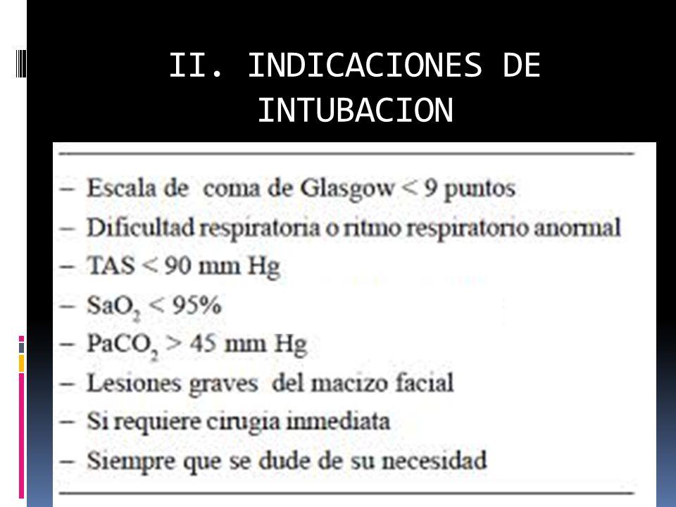 II. INDICACIONES DE INTUBACION