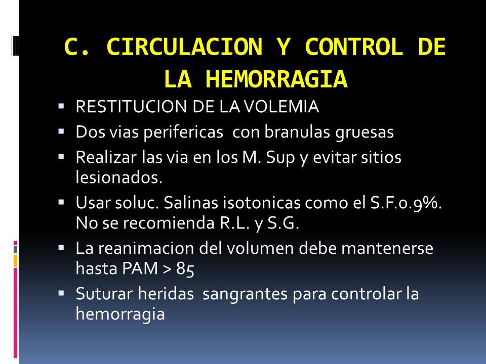 C. CIRCULACION Y CONTROL DE LA HEMORRAGIA