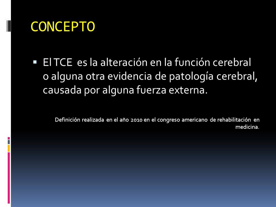 CONCEPTO El TCE es la alteración en la función cerebral o alguna otra evidencia de patología cerebral, causada por alguna fuerza externa.
