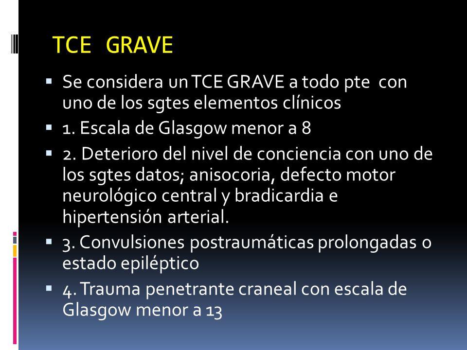 TCE GRAVESe considera un TCE GRAVE a todo pte con uno de los sgtes elementos clínicos. 1. Escala de Glasgow menor a 8.