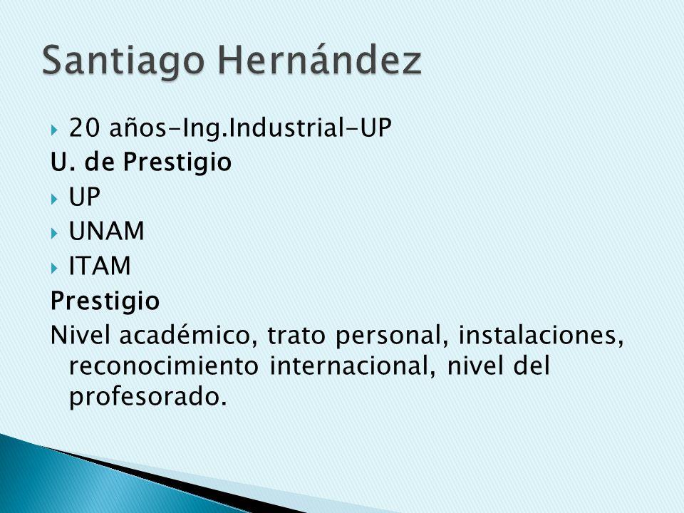 Santiago Hernández 20 años-Ing.Industrial-UP U. de Prestigio UP UNAM