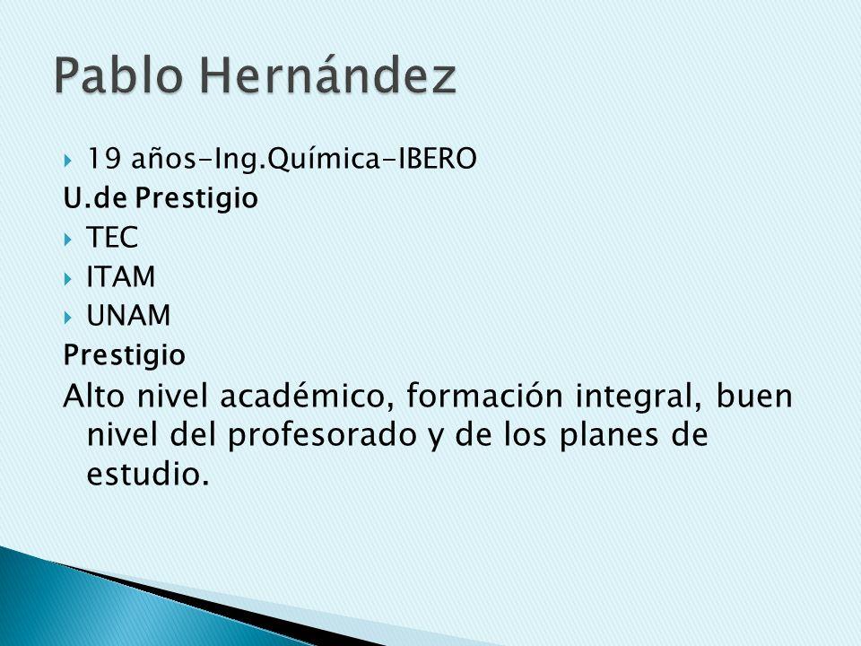 Pablo Hernández 19 años-Ing.Química-IBERO. U.de Prestigio. TEC. ITAM. UNAM. Prestigio.
