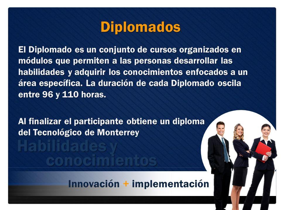 Habilidades y conocimientos Diplomados Innovación + implementación