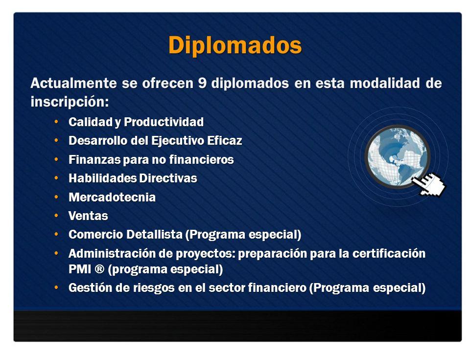 Diplomados Actualmente se ofrecen 9 diplomados en esta modalidad de inscripción: Calidad y Productividad.