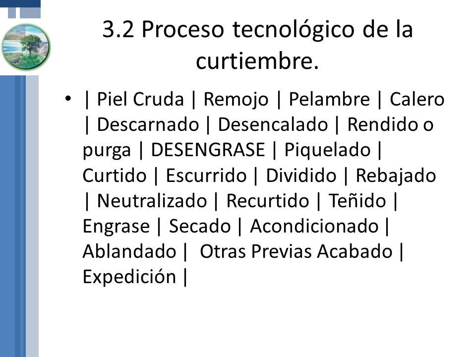 3.2 Proceso tecnológico de la curtiembre.
