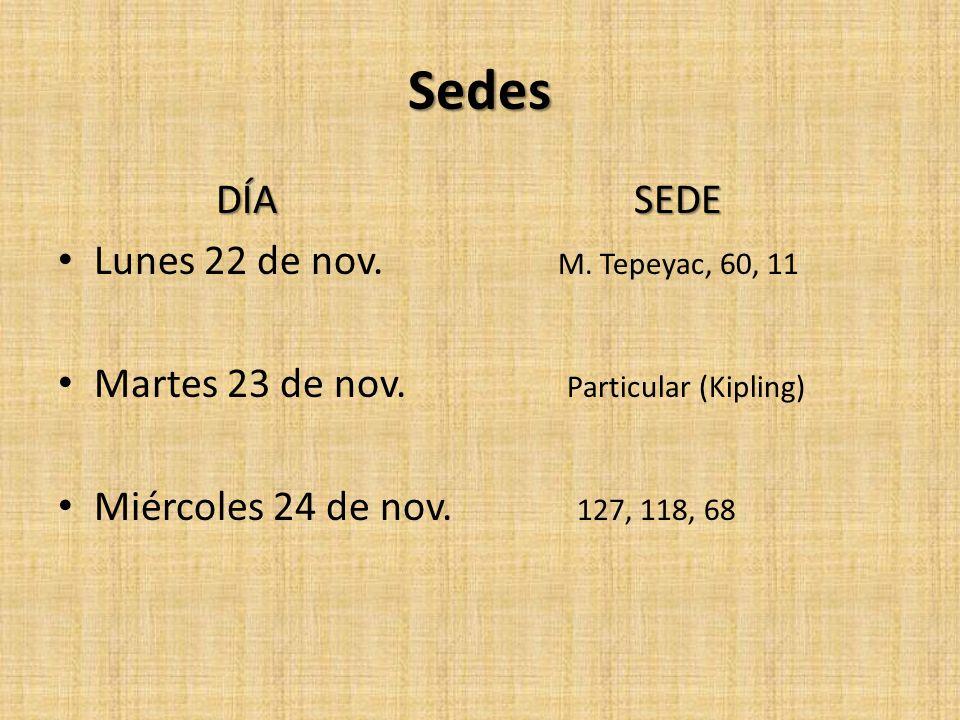Sedes Lunes 22 de nov. M. Tepeyac, 60, 11