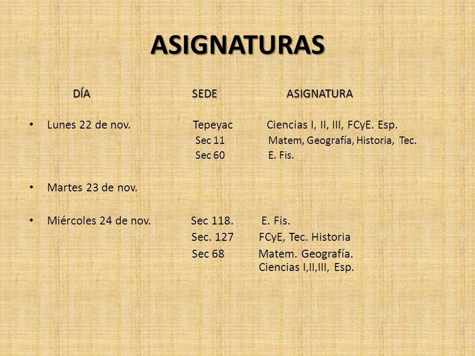 ASIGNATURAS DÍA SEDE ASIGNATURA