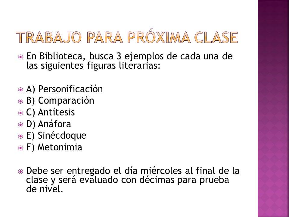 TRABAJO PARA PRÓXIMA CLASE