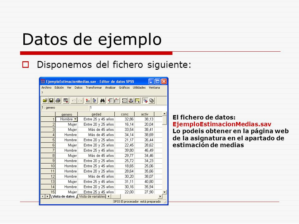 Datos de ejemplo Disponemos del fichero siguiente:
