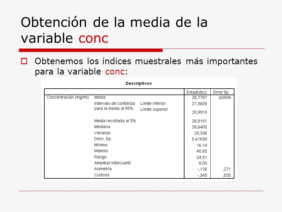 Obtención de la media de la variable conc
