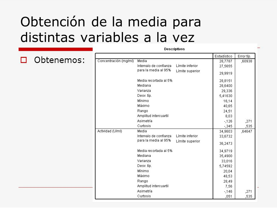 Obtención de la media para distintas variables a la vez