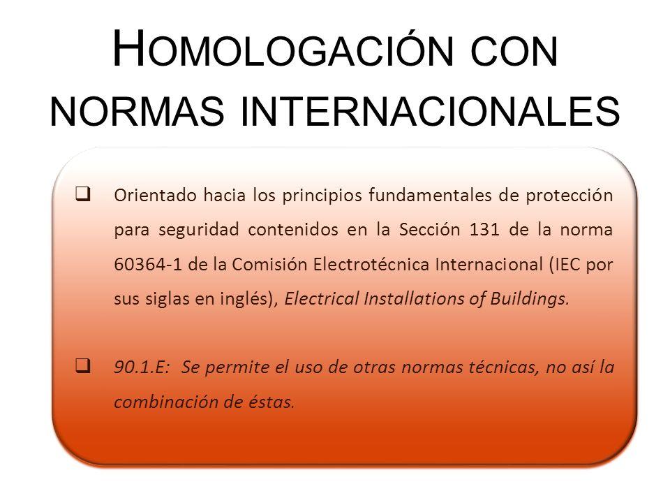 Homologación con normas internacionales
