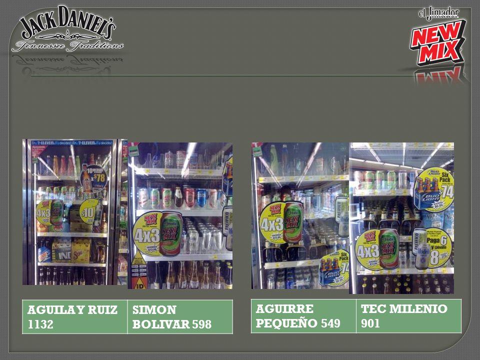 AGUILA Y RUIZ 1132 SIMON BOLIVAR 598 AGUIRRE PEQUEÑO 549 TEC MILENIO 901