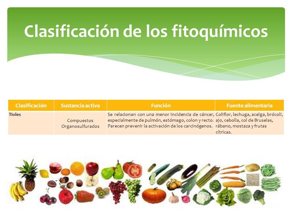 Clasificación de los fitoquímicos