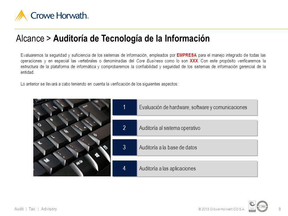Alcance > Auditoría de Tecnología de la Información