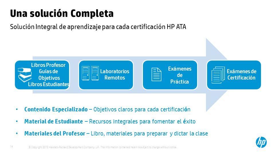 Solución Integral de aprendizaje para cada certificación HP ATA