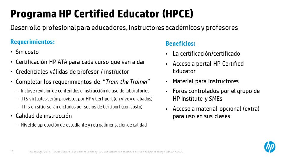 Programa HP Certified Educator (HPCE)