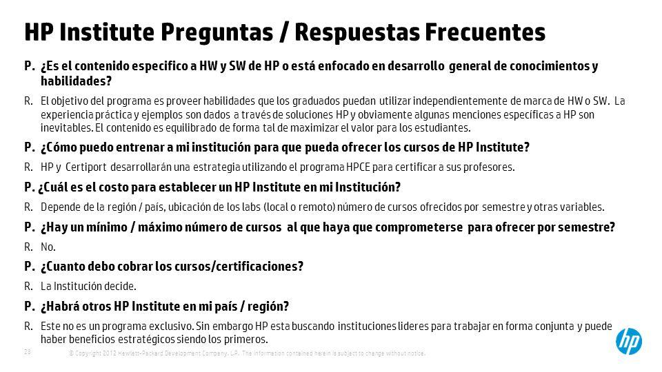 HP Institute Preguntas / Respuestas Frecuentes