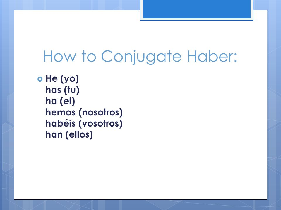 How to Conjugate Haber: