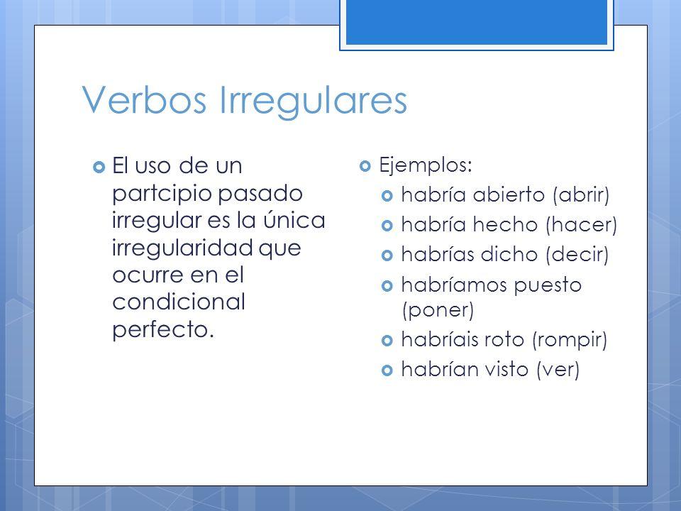 Verbos Irregulares El uso de un partcipio pasado irregular es la única irregularidad que ocurre en el condicional perfecto.