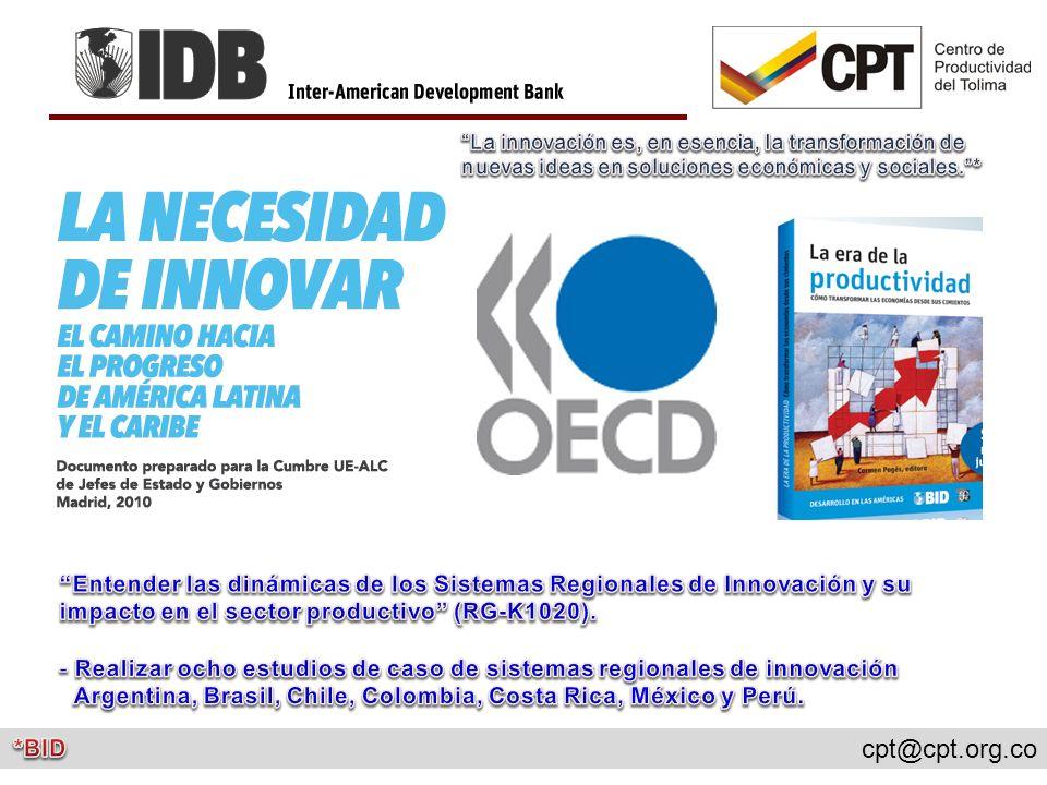 Realizar ocho estudios de caso de sistemas regionales de innovación