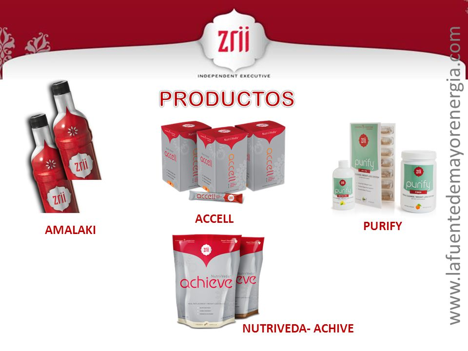 PRODUCTOS www.lafuentedemayorenergia.com ACCELL PURIFY AMALAKI