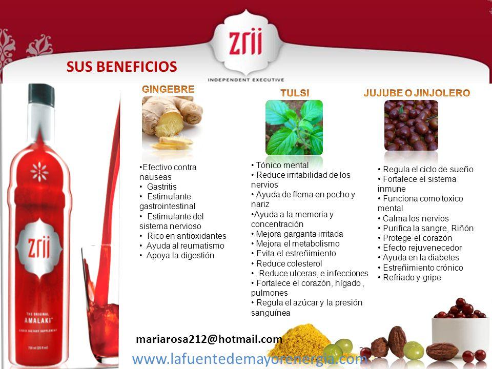 SUS BENEFICIOS www.lafuentedemayorenergia.com mariarosa212@hotmail.com