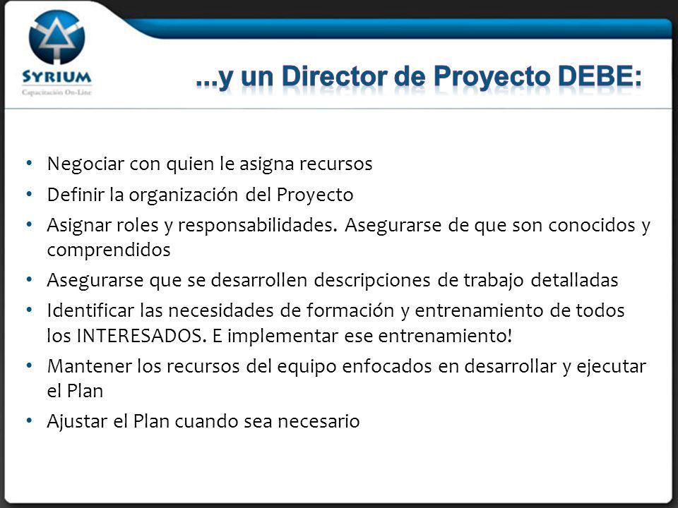 ...y un Director de Proyecto DEBE:
