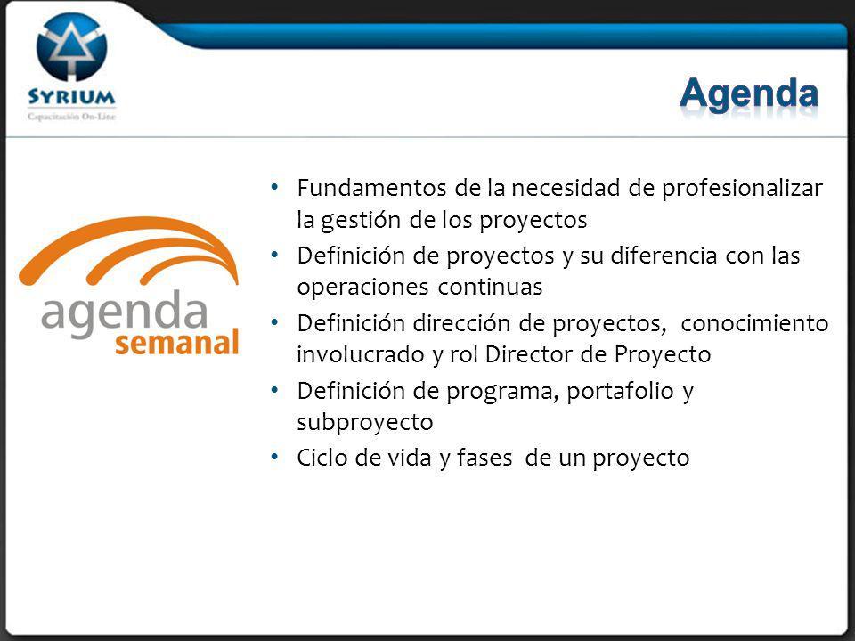 Agenda Fundamentos de la necesidad de profesionalizar la gestión de los proyectos.