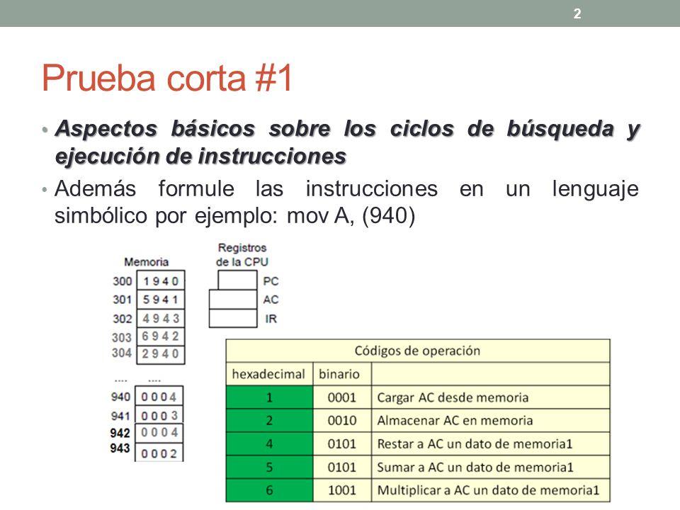 Prueba corta #1 Aspectos básicos sobre los ciclos de búsqueda y ejecución de instrucciones.
