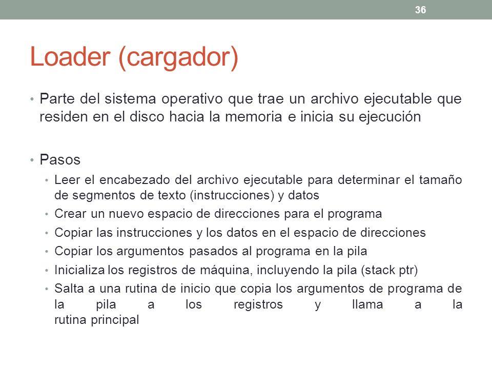 Loader (cargador) Parte del sistema operativo que trae un archivo ejecutable que residen en el disco hacia la memoria e inicia su ejecución.