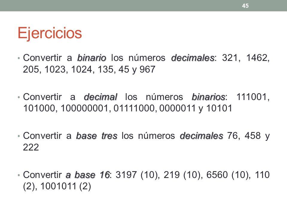 Ejercicios Convertir a binario los números decimales: 321, 1462, 205, 1023, 1024, 135, 45 y 967.