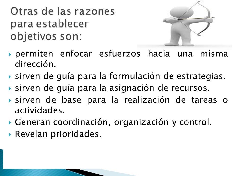 Otras de las razones para establecer objetivos son: