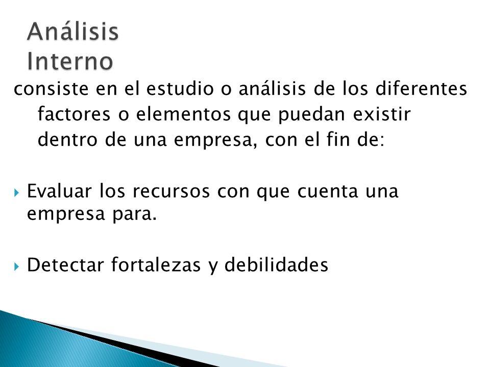 Análisis Interno consiste en el estudio o análisis de los diferentes