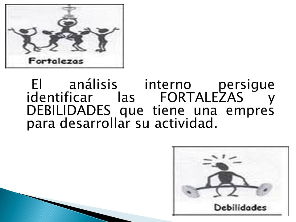 El análisis interno persigue identificar las FORTALEZAS y DEBILIDADES que tiene una empres para desarrollar su actividad.