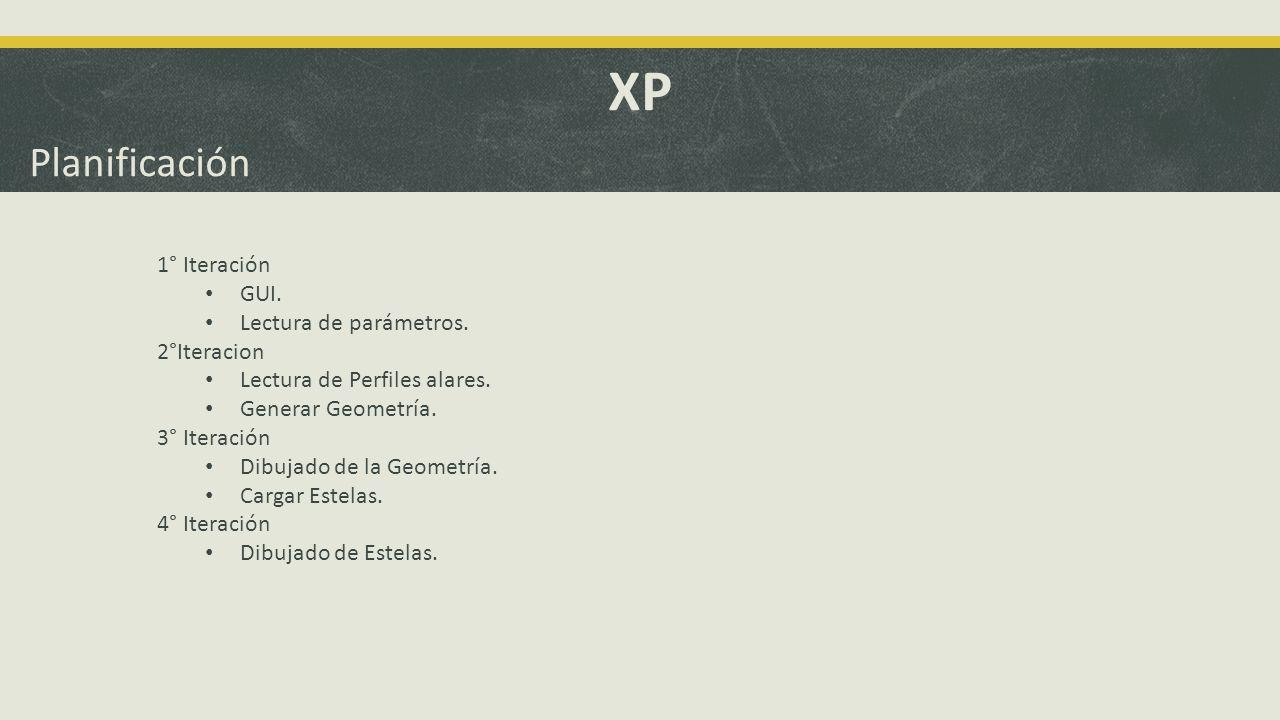 XP Planificación 1° Iteración GUI. Lectura de parámetros. 2°Iteracion