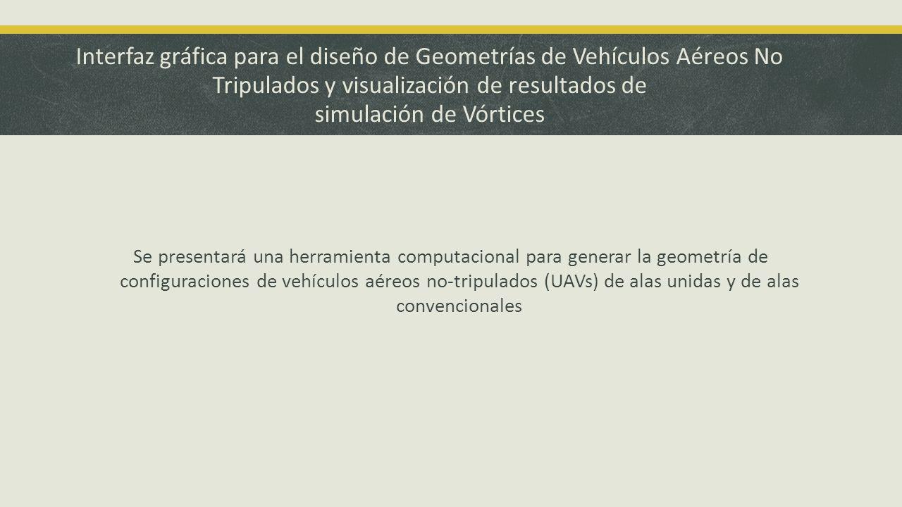 Interfaz gráfica para el diseño de Geometrías de Vehículos Aéreos No Tripulados y visualización de resultados de simulación de Vórtices