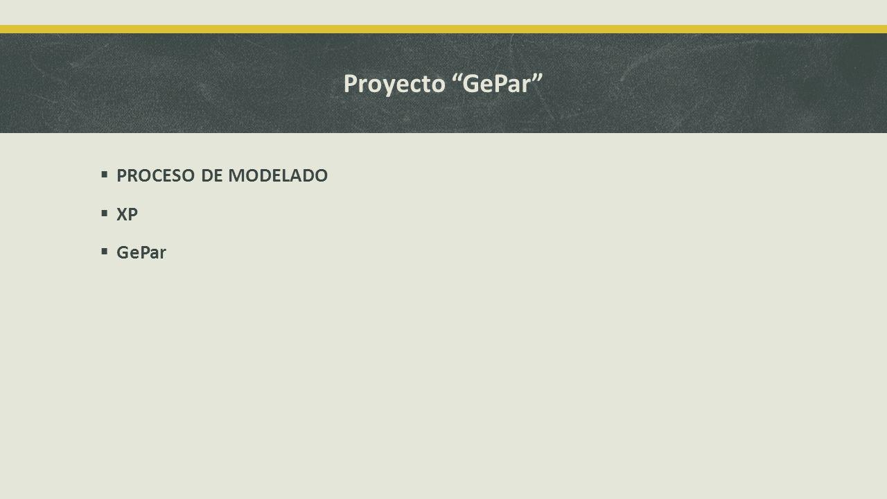Proyecto GePar PROCESO DE MODELADO XP GePar
