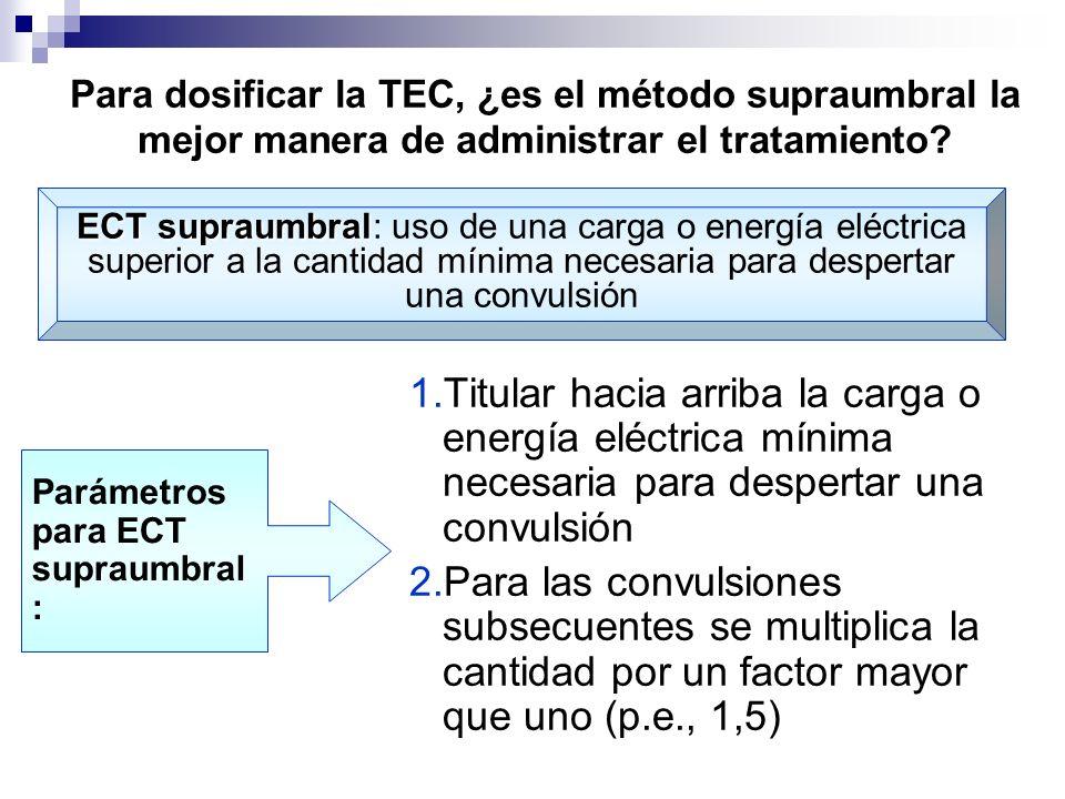 Para dosificar la TEC, ¿es el método supraumbral la mejor manera de administrar el tratamiento