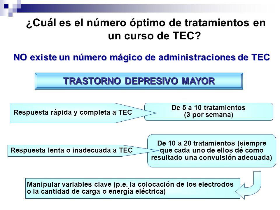 ¿Cuál es el número óptimo de tratamientos en un curso de TEC